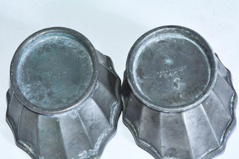 Hand-Crafted Two Petite Fluted Pewter Bowls For Sale
