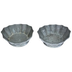 Two Petite Fluted Pewter Bowls