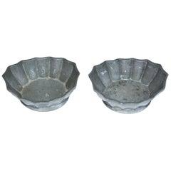 Two Petite Fluted Pewter Salt Cellar Bowls