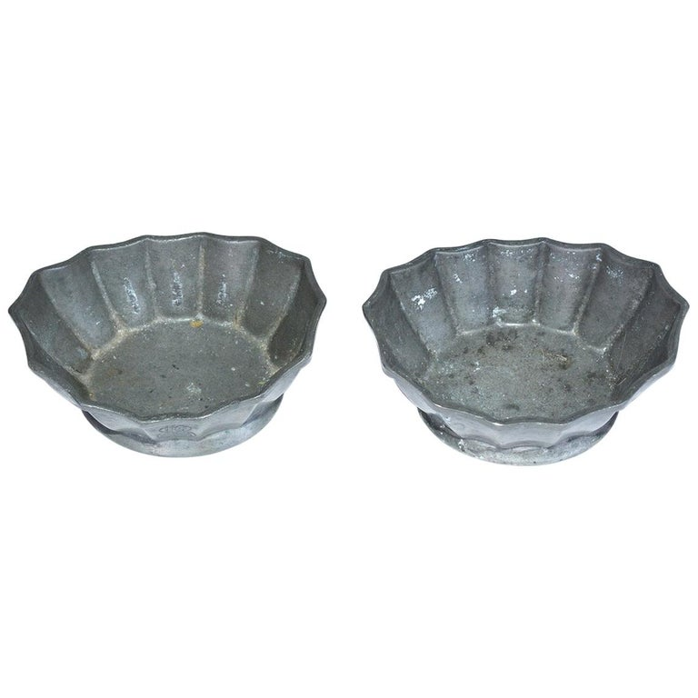 Two Petite Fluted Pewter Bowls For Sale