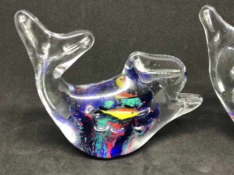 Italian Two Petite Murano Glass Aquarium Paperweight Mid-Century Modern, Italy, 1970s For Sale