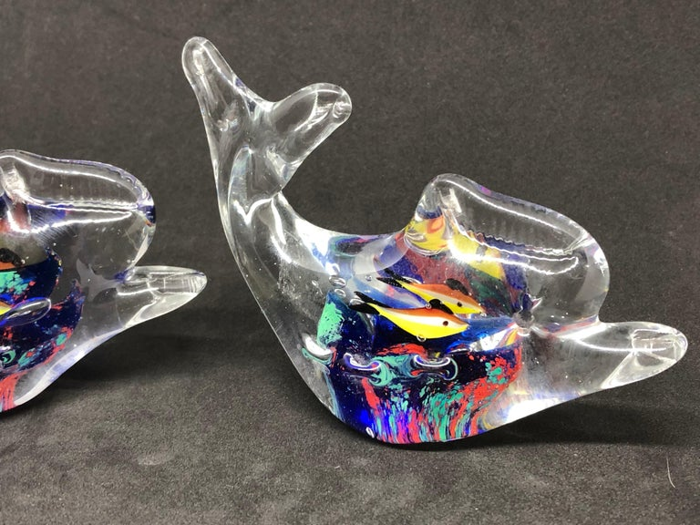 Hand-Crafted Two Petite Murano Glass Aquarium Paperweight Mid-Century Modern, Italy, 1970s For Sale