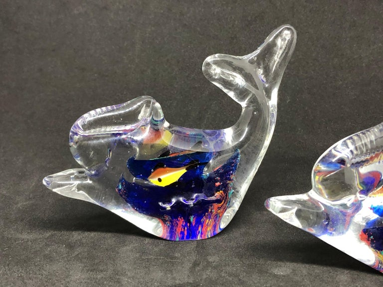 Late 20th Century Two Petite Murano Glass Aquarium Paperweight Mid-Century Modern, Italy, 1970s For Sale