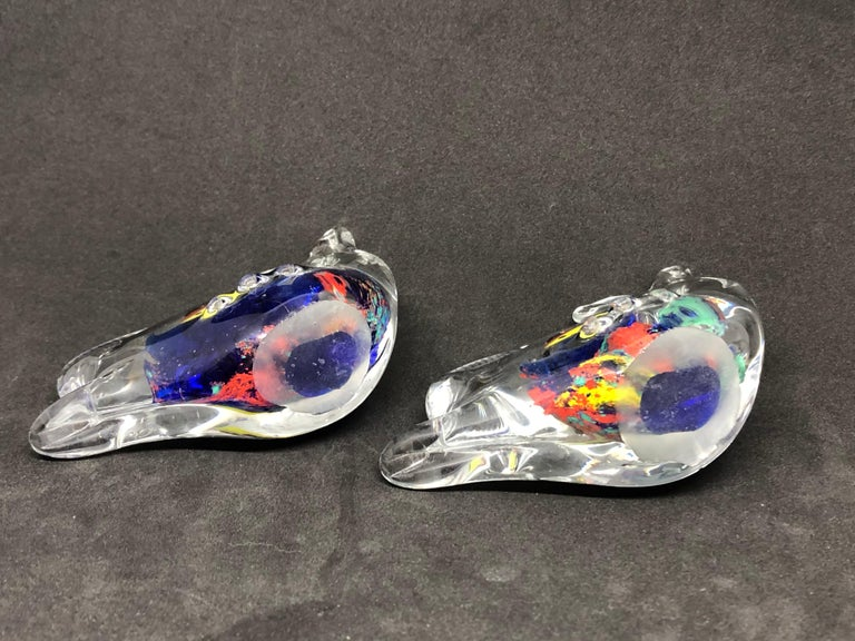 Two Petite Murano Glass Aquarium Paperweight Mid-Century Modern, Italy, 1970s For Sale 1