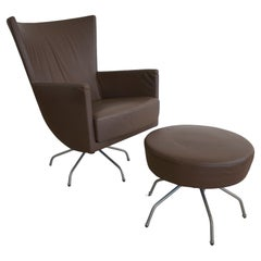 Two Piece 1970s Italian Leather Armchair w/ Puff