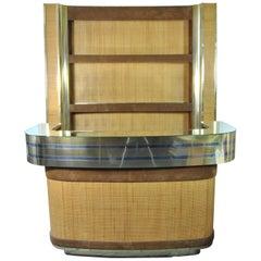 Two-Piece Bar Cabinet in Brass, Steel and Wicker, Design Romeo Rega, Italy, 1970