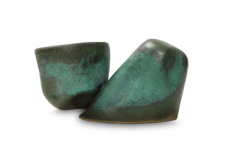 Glazed Two-Piece Cantilever Sculpture by David Haskell For Sale