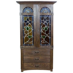 Two-Piece Closet or Cupboard with Stained Glass, circa 1930