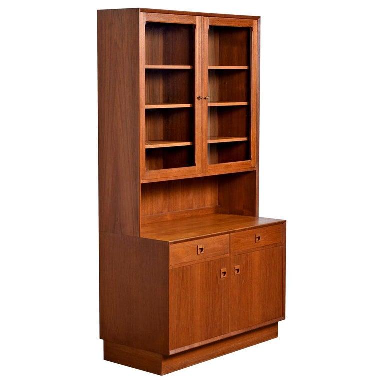 Two-Piece Danish Modern Teak Display China Hutch Cabinet by Brouer Møbelfabrik For Sale