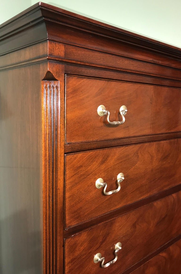Hand-Crafted Two Piece Georgian Style Mahogany Chest on Chest by Kaplan Furniture For Sale