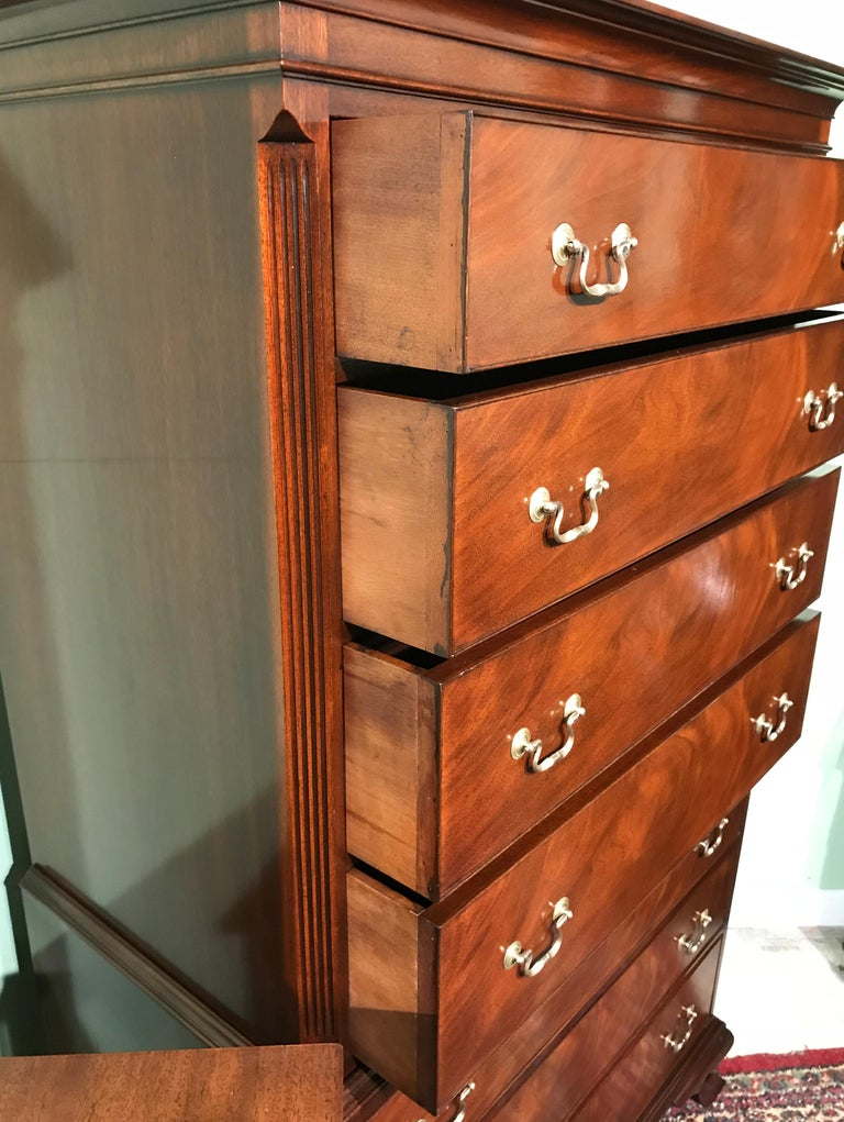 Two Piece Georgian Style Mahogany Chest on Chest by Kaplan Furniture For Sale 2