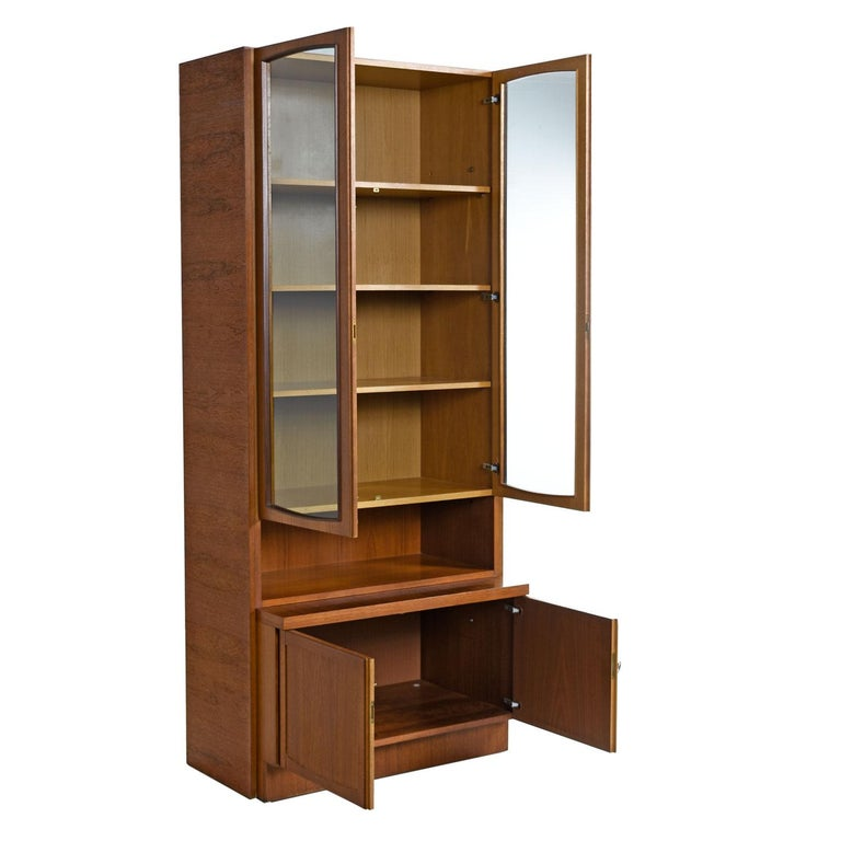 Mid-Century Modern Two-Piece German Modern Teak Display China Hutch Cabinet by Bartels Möbelstück For Sale