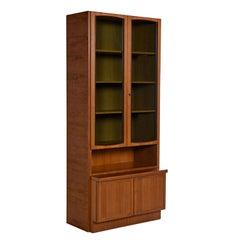Two-Piece German Modern Teak Display China Hutch Cabinet by Bartels Möbelstück
