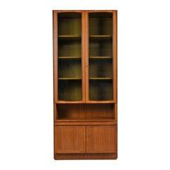 Two-Piece German Modern Teak Display China Hutch Cabinet by Bartels Möbelstück