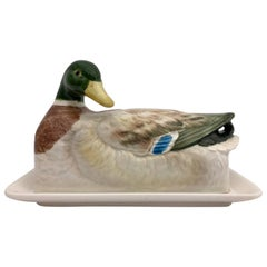 Two-Piece Mallard Ceramic Butter Dish and Plate Handcrafted by Otagiri, Japan