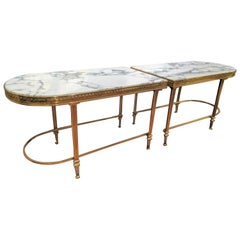 Two-Piece Marble and Brass Coffee Table or Pair of Side Tables