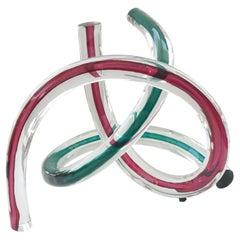 Two Piece Set of Artisan Glass Free Form Swirls Sculpture