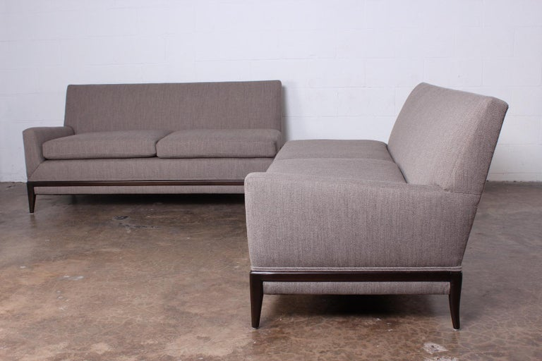 Fabric Two Piece Sofa by Tommi Parzinger For Sale