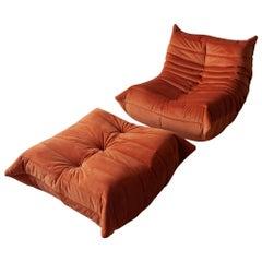 Two-Piece Togo Set by Michel Ducaroy, Ligne Roset. Orange Velvet