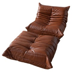 Two-Piece Togo Set by Michel Ducaroy, Ligne Roset, Whiskey Brown Leather