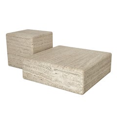 Two-Piece Travertine Cube Tiered Coffee Table