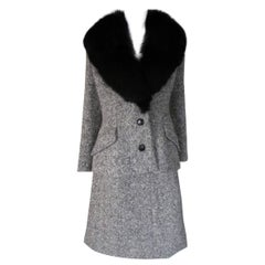 Two piece wool tweed suit with black fox fur collar