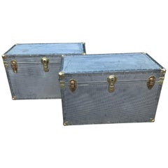 Two Polished Diamond Aluminum and Brass Streamer Trunks
