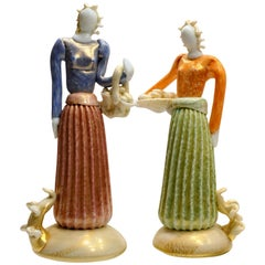Two Polychrome Figurine, Lattimo Color and Gold, Murano in the Style of Barovier