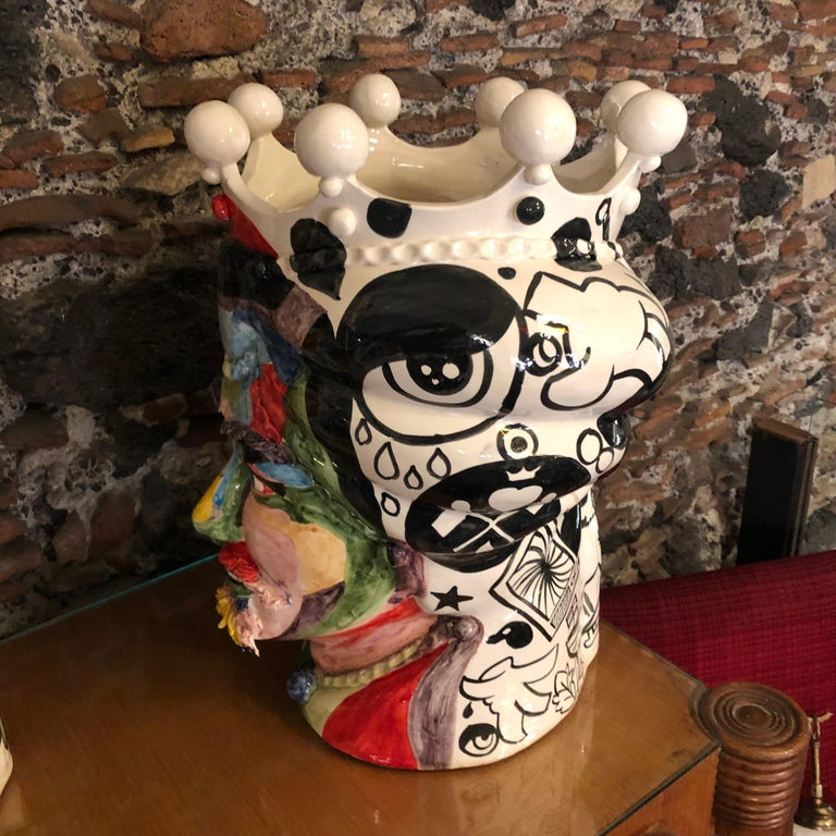 Two Pop Art Inspired Hand Painted Clay Sicilian Moro's Head Vases For Sale 4