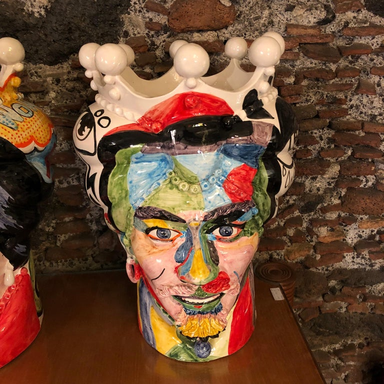 Modern Two Pop Art Inspired Hand Painted Clay Sicilian Moro's Head Vases For Sale