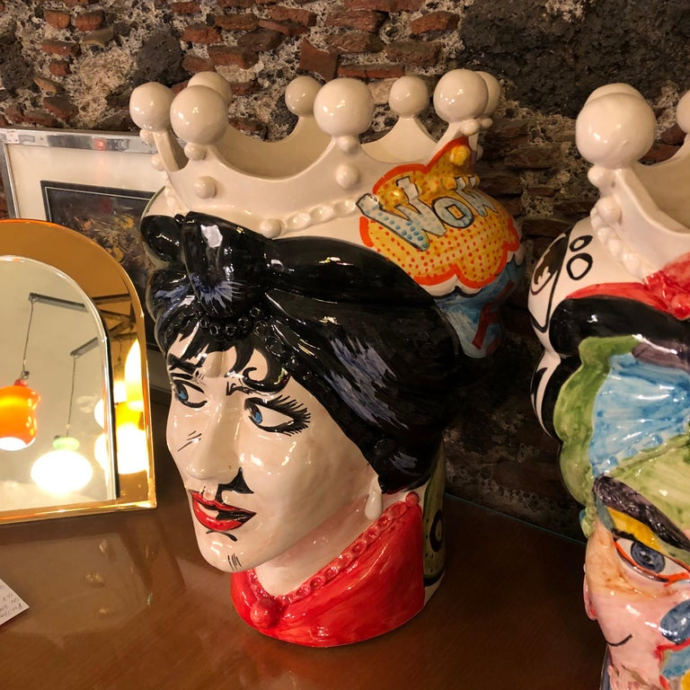 Hand-Painted Two Pop Art Inspired Hand Painted Clay Sicilian Moro's Head Vases For Sale