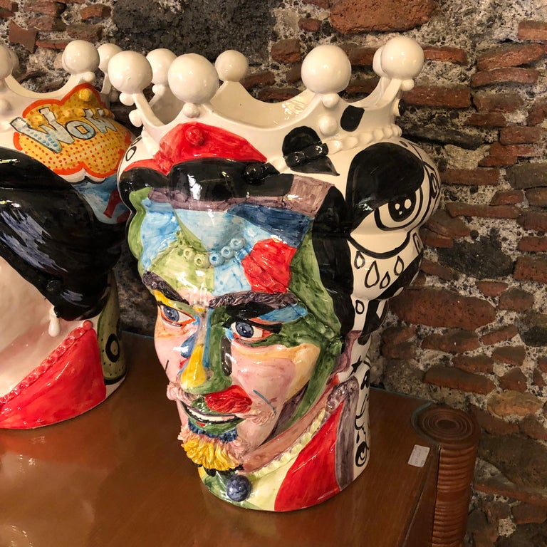 Two Pop Art Inspired Hand Painted Clay Sicilian Moro's Head Vases In Good Condition For Sale In Aci Castello, IT