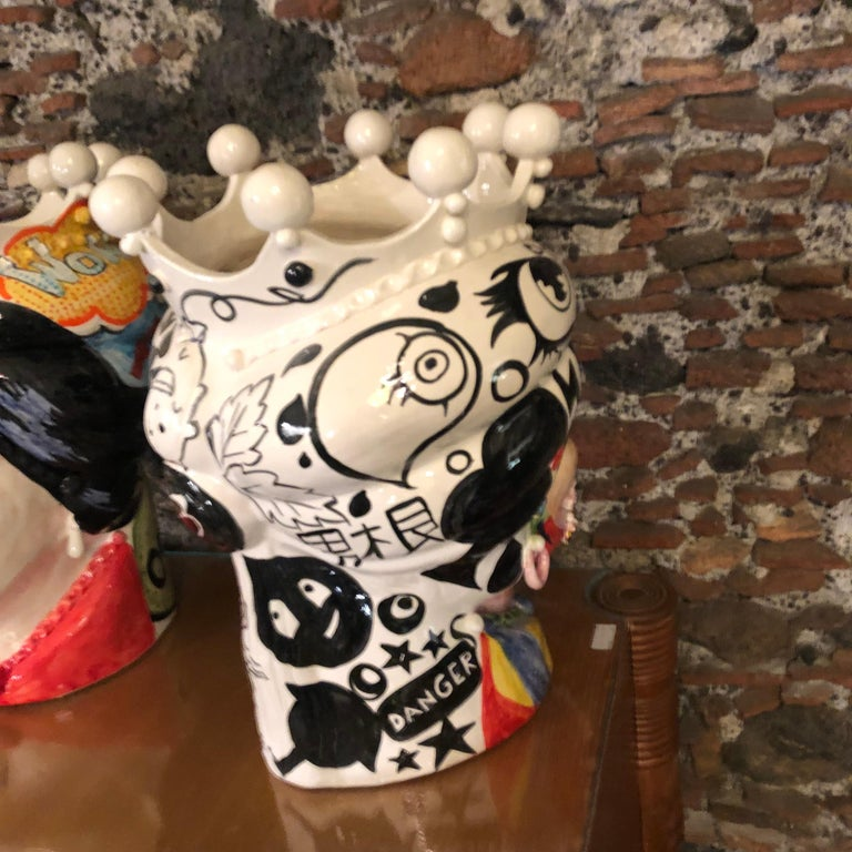 Contemporary Two Pop Art Inspired Hand Painted Clay Sicilian Moro's Head Vases For Sale