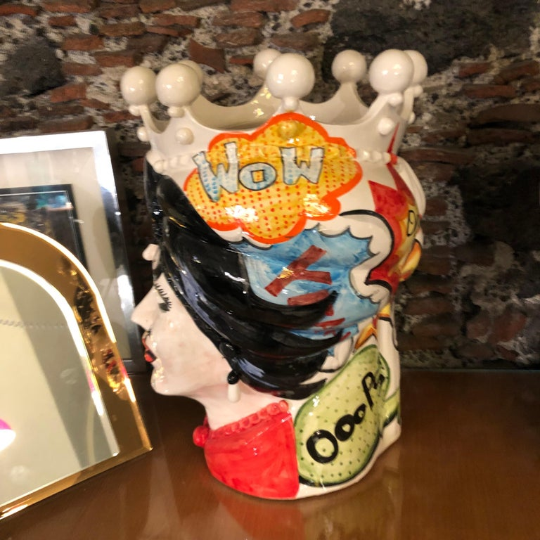 Two Pop Art Inspired Hand Painted Clay Sicilian Moro's Head Vases For Sale 1