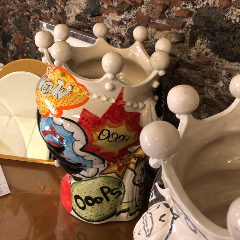 Two Pop Art Inspired Hand Painted Clay Sicilian Moro's Head Vases For Sale 2
