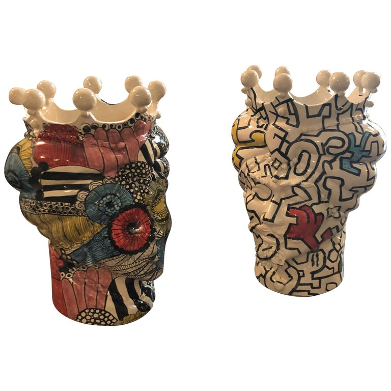 Two Pop Art Inspired Hand-Painted Clay Sicilian Moro's Head Vases For Sale