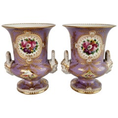 Two Porcelain Campana Vases Attr. to Edmé Samson, Lilac, Birds, Flowers, ca 1815