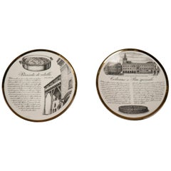 Two Porcelain Plates by Piero Fornasetti, Italy, 1960s