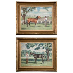 Two  Portraits of Trotters Signed Milton Menasco