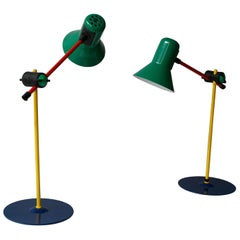 Two Postmodern Veneta Lumi Desk Task Table Lamp, Italy, 1994
