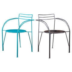 Two Powder-Coated Lune d'Argent Metal Armchairs