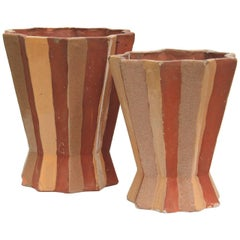 Two Primavera Madeline Sougez Painted Terracotta Vases