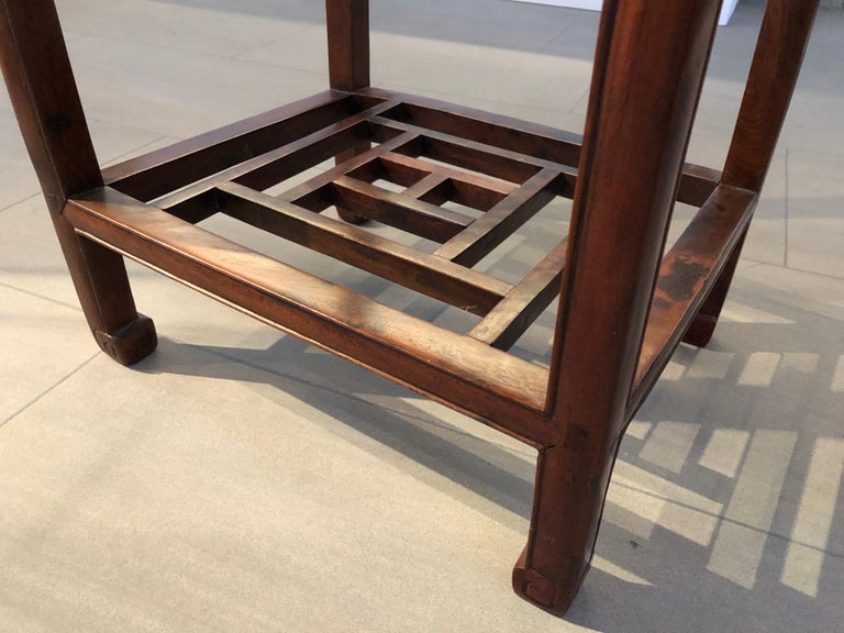 Hand-Carved Two Qing Dynasty Side Tables, Late 19th Century For Sale