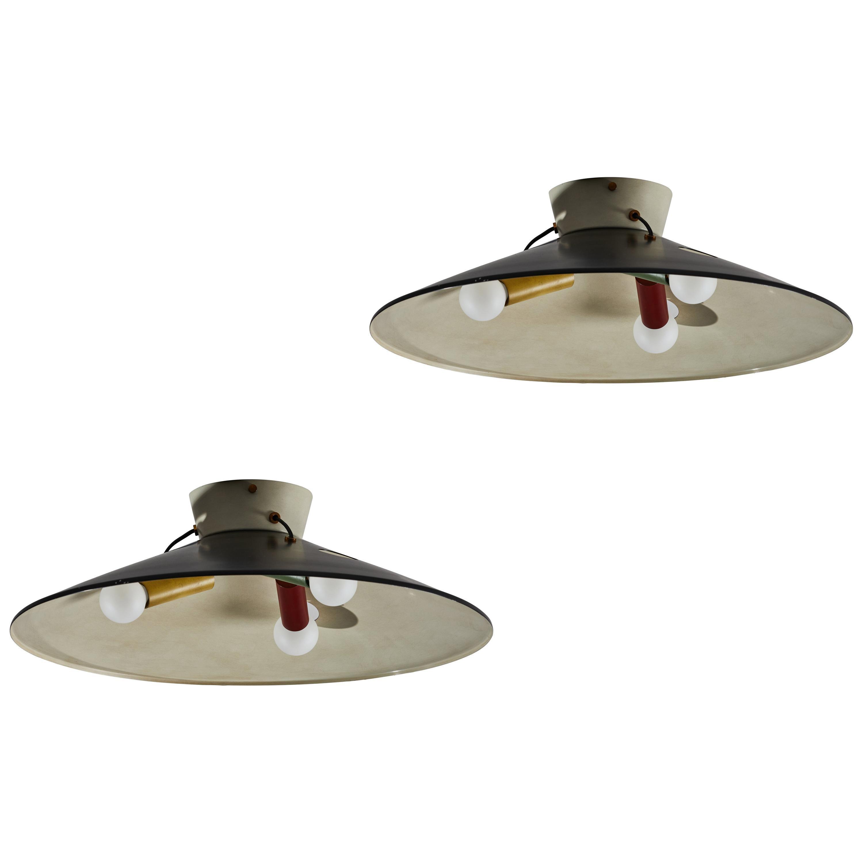 Two Rare Flush Mount Ceiling Lights by Stilnovo