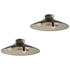 Two Rare Flush Mount Ceiling Lights by Stilnovo