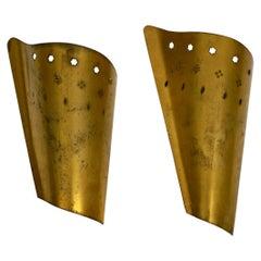 Two Rare Large Midcentury Italian Brass Wall Lights
