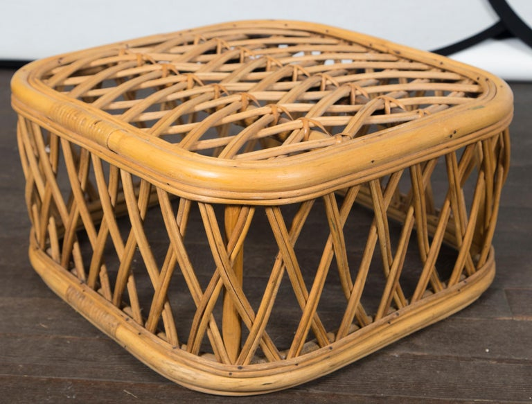 Two Rattan Pieces Small Cylindrical Table, Small Square Ottoman For Sale 4