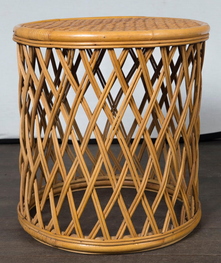 Hong Kong Two Rattan Pieces Small Cylindrical Table, Small Square Ottoman For Sale