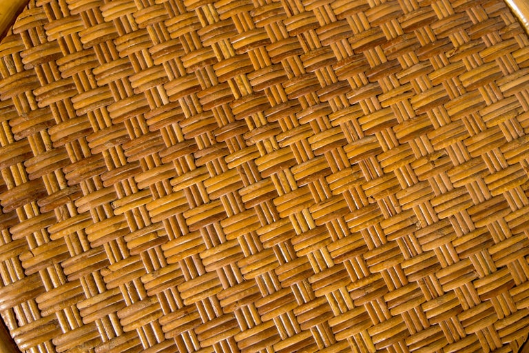 Woven Two Rattan Pieces Small Cylindrical Table, Small Square Ottoman For Sale