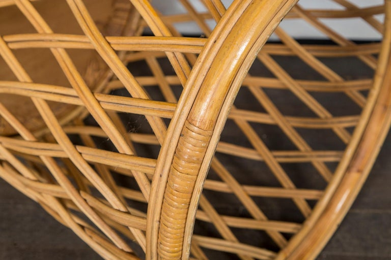Two Rattan Pieces Small Cylindrical Table, Small Square Ottoman In Good Condition For Sale In Stamford, CT
